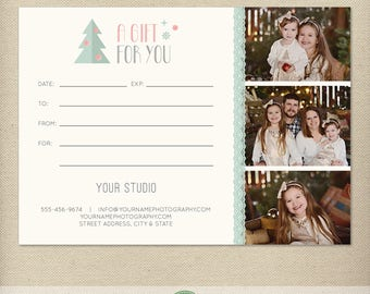 5x7 Digital or Print Gift Certificate, Gift Card, Photography Gift, One-Side, Single-Side, Christmas, Holiday - TEMPLATE - GC8