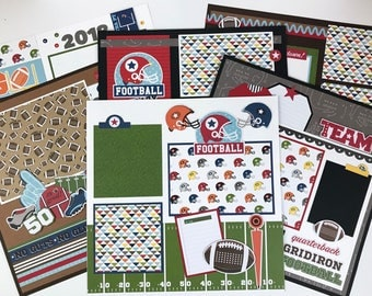 12x12 Football Scrapbook Page Kit or Premade Pre-Cut with Instructions 6 pages Team Coach Football Sports Super Bowl