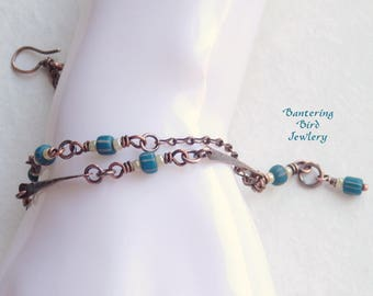 Boho Hammered Copper Link Bracelet with Blue Striped Indonesian Glass Seed Beads, Wire Wrapped Double Strand Beaded Gypsy Bracelet