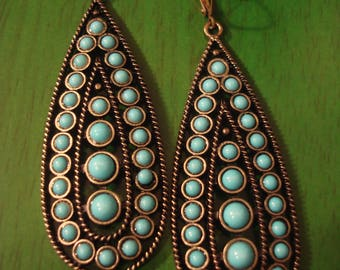 Handcrafted Boho Chic Turquoise Drop Earrings