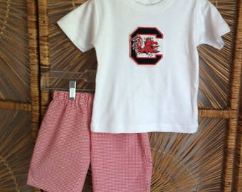 GAMECOCK BOYS SET for Game day or any day! Garnet red seersucker gingham shorts with embroidered tee. Sizes 6mo - 8yr