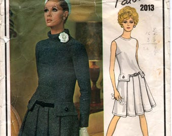 "1960's Vogue Paris Original One-Piece Dress with Tab Accents and pleated Skirt Pattern - PATOU - Bust 36""  - No. 2013"