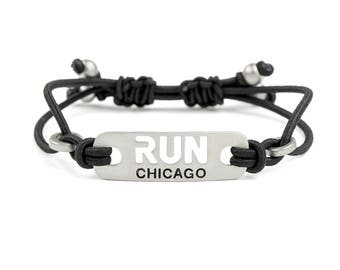 RUN CHICAGO - Running stretch adjustable Bracelet, Chicago Jewelry, Gift for Chicago Marathon, Running Motivation, Run Chicago Half Marathon
