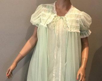 60's mint green peignoir set,negligee-Small