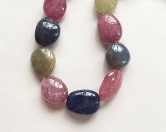 Large Colorful Natural Umba Sapphire Pebble Nuggets Full 16 inch Strand N1193