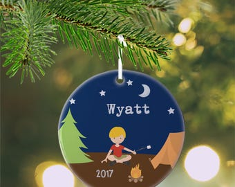 Personalized Kids Ornament - Camping Boy Girl Camper Night Sky Tent Fire, Children Christmas Ceramic Circle Heart Snowflake Star