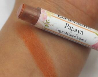 "Peachy Orange Lipstick - ""Papaya"" Vegan Mineral Lipstick natural lip tint, balm, lip colour"