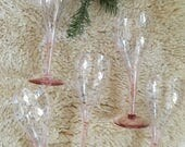 set of 6 blush pink champagne glasses. mid century pink glass cordial cocktail glasses. bar cart colored stemware boho glam wine coupes