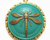 green turquoise blue and gold dragonfly cabochon salvaged pendant for repurposing