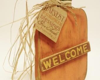 Primitive Pumpkin with Welcome Sign, Fall Decor, Wood Pumpkins