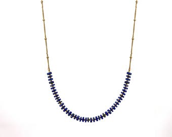 Lapis Lazuli Necklace. Heishi Necklace. Simple Layering Necklace. Also in Labradorite, Gold or Silver. B-2193-5