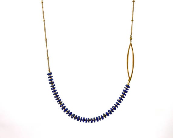 Lapis Lazuli Necklace. Heishi Necklace. Unique off-center Necklace. Also in Labradorite, Gold or Silver. B-2193-5