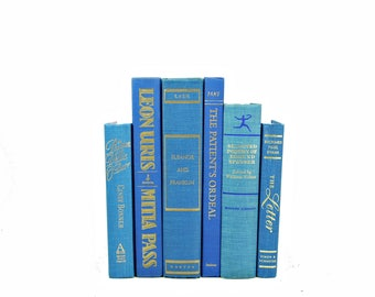 Sea of BLue Books, Wedding Decoration, Centerpiece, Old Ocean Book Set, Cyan Decorative Books, Beach Book Decor, Instant Library, BOok Stack