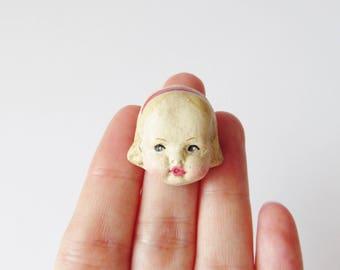 Antique Doll Brooch Edith - Handmade Pin