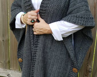 Crocheted Kimono style Cardigan with large buttons
