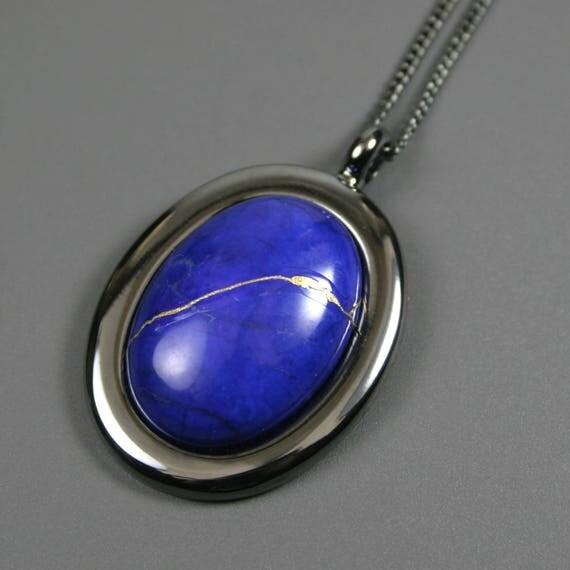 Kintsugi (kintsukuroi) lapis howlite oval stone cabochon pendant with gold repair in gunmetal setting on curb chain - OOAK