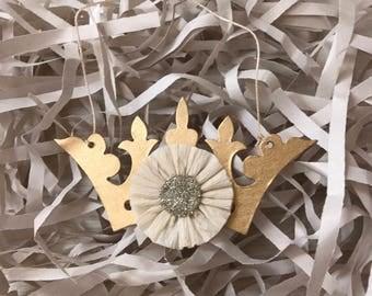 Christmas Ornament Crown White Christmas Gold Gilt Ormolu Silver Mercury Glass Handmade French Christmas Marie Antoinette