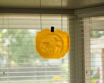 Fused glass Halloween pumpkin decor