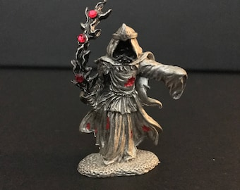 Pewter Ghost Warrior Fantasy Wizard Vintage 1996 Collectible Figurine, Initialed by Artist,  FREE SHIPPING!