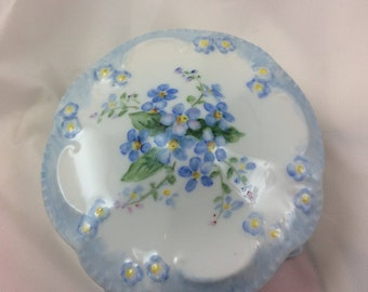Forget-me-not Flowers on a hand painted Porcelain Box