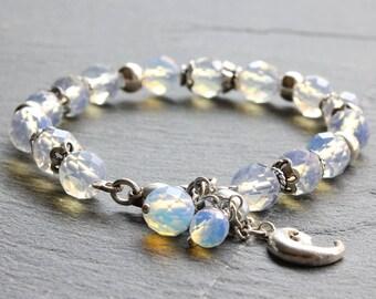 Opalite Bracelet, 925 Sterling Silver, opalite jewelry, modern bracelet, stackable bracelet, statement bracelet, charm bracelet, gift, 4122