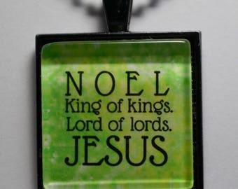 Christmas Pendant Necklace Jewelry Merry Christmas Pendant King of Kings Lord of Lords Necklace C L Murphy Creative CLMurphyCreative