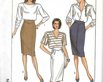 Simplicity 8505 Misses Skirt Pattern With Shaped Waistband, Size 16 & 18, UNCUT