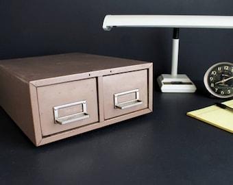 Vintage 2 Drawer File Cabinet by Steelmaster Industrial Metal Card Catalog