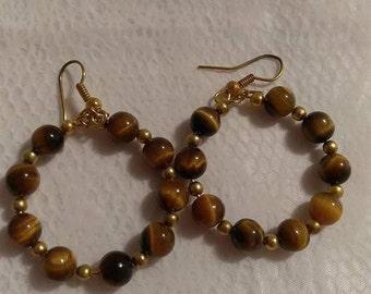Tiger Eye/Gold 6MM Bead Gold Hoop Earrings