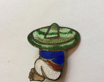 Vintage 1940's 50's  Enameled Sterling Mexican Pin JF Jose Frederico