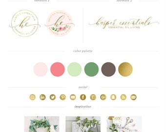 Watercolor Floral Logo design & Sublogo - Calligraphy Logo - Wreath Logo - Vintage Rental logo - Custom PreDesigned - Event Logo