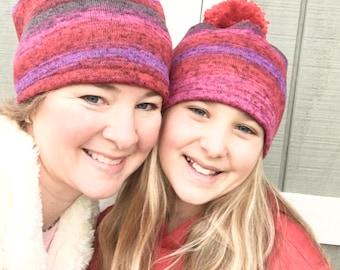 Matching Pom Pom Hat, Winter Hat, Women and Kids, Winter Pom Pom Hat, Sweater Knit Women's Hat, Hat Kid's Pom Pom Ball, Ball Hat, Pom Hat