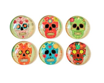 Set of 6 // Glass Magnets // Fridge Magnets // Refrigerator Magnets // Sugar Skull Magnets // Day of the Dead Magnets // 1 Inch Magnets