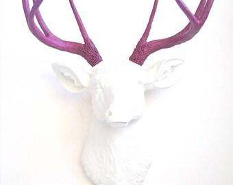 White Deer Head Wall Decor deer head white-gold faux taxidermy deer head animal head wall