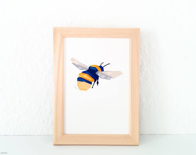Bumblebee art, Bumblebee print, Bumblebee card, Geometric bumblebee, Insect art, Spring art, Bee art, Bee theme, Nature art, Garden print