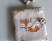 Fox needlecase with internal pockets - fox print pin and needlebook for fox lover sewing gift