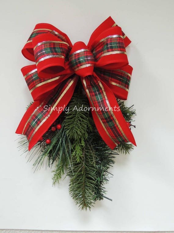 Red Velvet Country Christmas Plaid Bow Red Velvet Tartan Christmas Wreath Bow Country Plaid Christmas Bow Indoor/ Outdoor Christmas Bow
