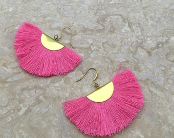 Capri Tassel Fringe Earrings Half Moon Tassle Earrings Pink Tassel Earrings Pink Cotton Tassels Matte Gold Plated Lightweight Earring
