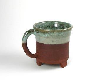 Ceramic mug, red stoneware, seafoam green, unique coffee mug, teacup, handmade mug, pottery mug, wheel thrown