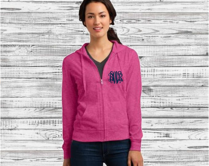 Monogrammed Hoodie, Monogrammed Full Zip Jacket, Bridesmaid Gifts, Bridal Party Gifts, Monogram Sweatshirt Jacket, Gifts for Her