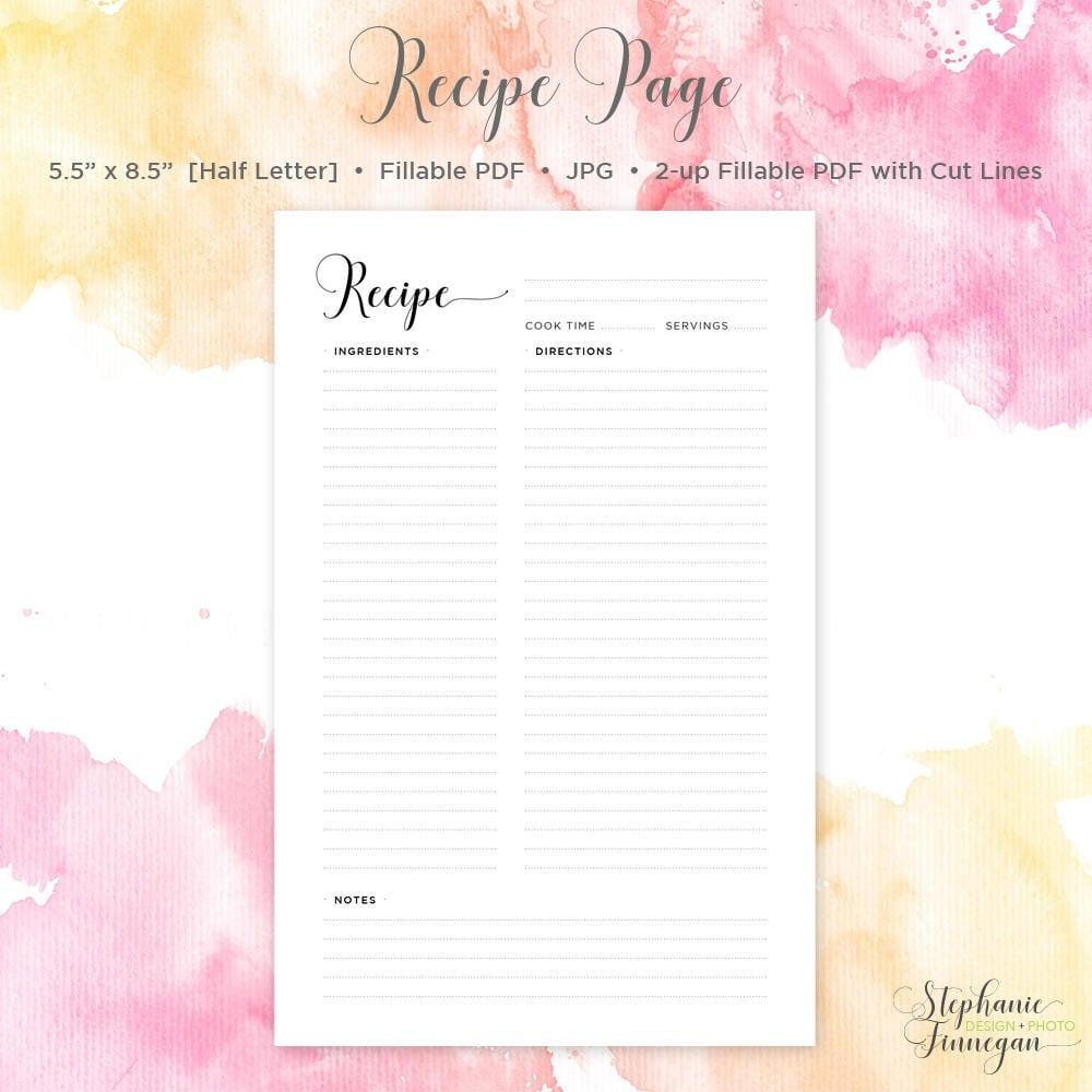 half letter size recipe page recipe page 5 5 x 8 5 recipe book
