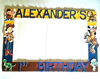 Birthday, Baby Shower, Wedding,Buzz Woody of Toy Story or any theme and colors Party Photo Prop Frame