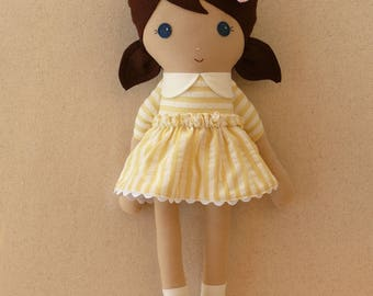 Fabric Doll Rag Doll 20 Inch Brown Haired Girl in Yellow Striped Dress