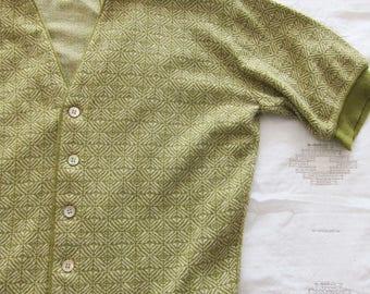 60s Cardigan - Short Sleeve Cardigan - Womens Cardigan - Green Cardigan Sweater - Patterned Cardigan - Geometric Print
