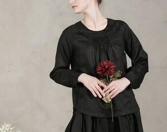 black linen tunic (more colors), pintucked neckline shirt, black linen blouse, longsleeved linen shirt, black top, linen shirt tunic, loose