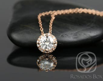 Rosados Box Gemma 5mm 14kt Rose Gold Round F1- Moissanite and Diamonds Halo Floating Necklace