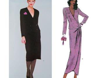 """1979 John Anthony Vogue American Designer 2269, Couture Petal Hem Skirt, Evening or Knee Length, Button Trim Deep V Jacket, Bust 34"""", Uncut"""