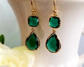 Emerald earrings, Green Earrings, Bridesmaid Gift, Wedding Earrings Bridal Jewelry ,Emerald Danlge Earrings, Christmas Earrings, Gift