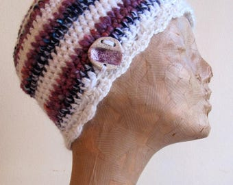 Purple and white hat, eco-friendly and ethical