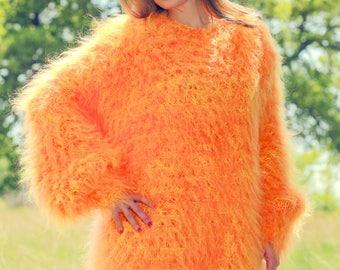 Designer handmade mohair sweater dress, slouchy oversized in neon yellow orange by SuperTanya